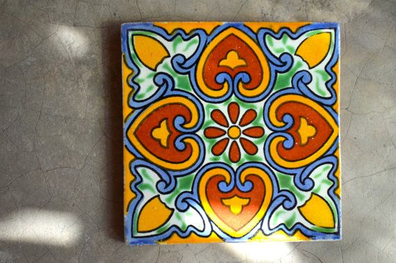 90 Mexican Talavera Tiles. Hand madeHand painted 4 by MexicanTiles, $110.00