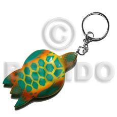 Natural Sea Turtle Handpainted Wood Keychain Hand Painted Keychains