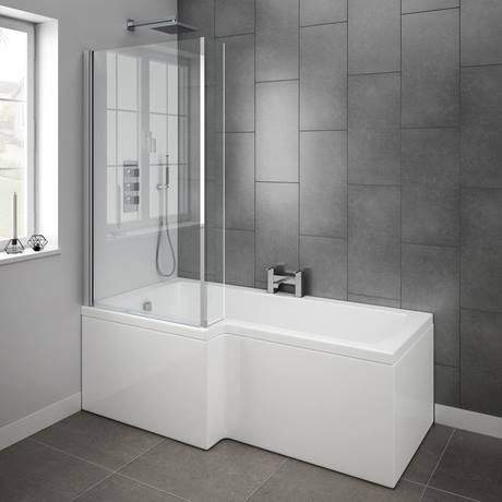 Milan 1700mm L Shaped Shower Bath With Screen Panel Online Small Bathroom Remodel Designs Small Bathroom With Shower Bathroom Shower Panels