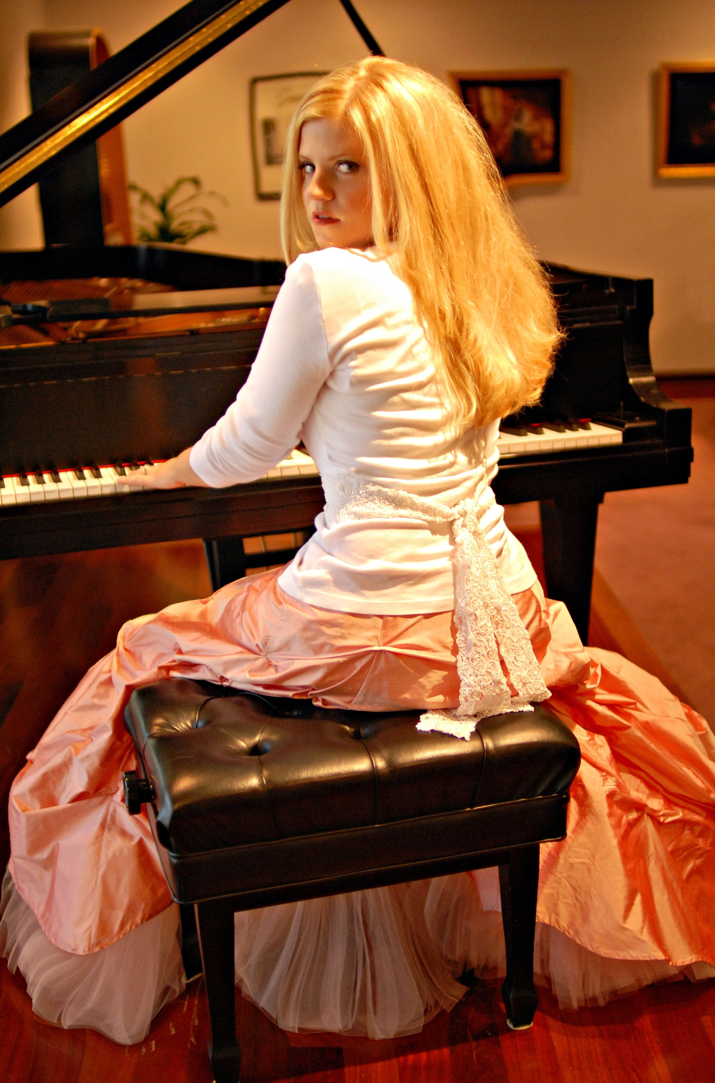 One of my album photo shoots - me at a beautiful Steinway