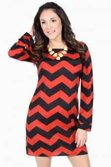 Chevron Zipper Dress