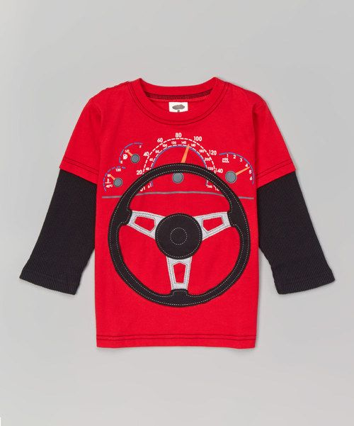 Look at this Red & Black Dashboard Steering Wheel Tee - Toddler & Boys on #zulily today!