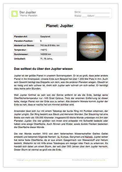 Arbeitsblatt: Lesetext - Planet Jupiter | Weltall, Arbeitsblätter ...