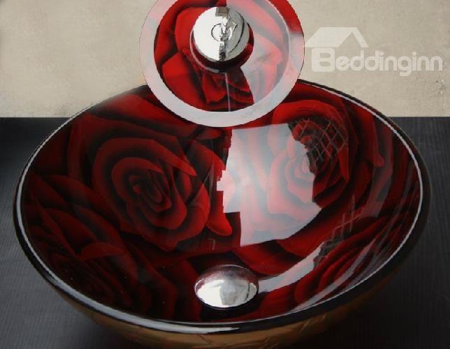 Exceptionnel New Arrival Red Rose PatternsTempered Glass Vessel Sink