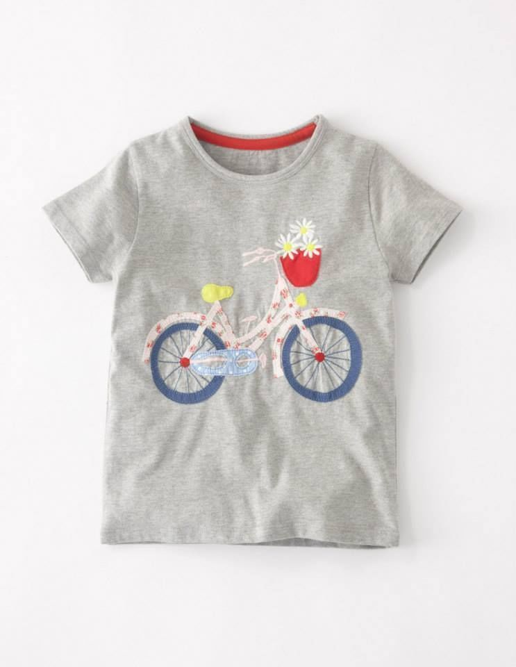 d9adb28d Mini Boden girls grey cotton applique top t- shirt bicycle with daisies NEW  5-12