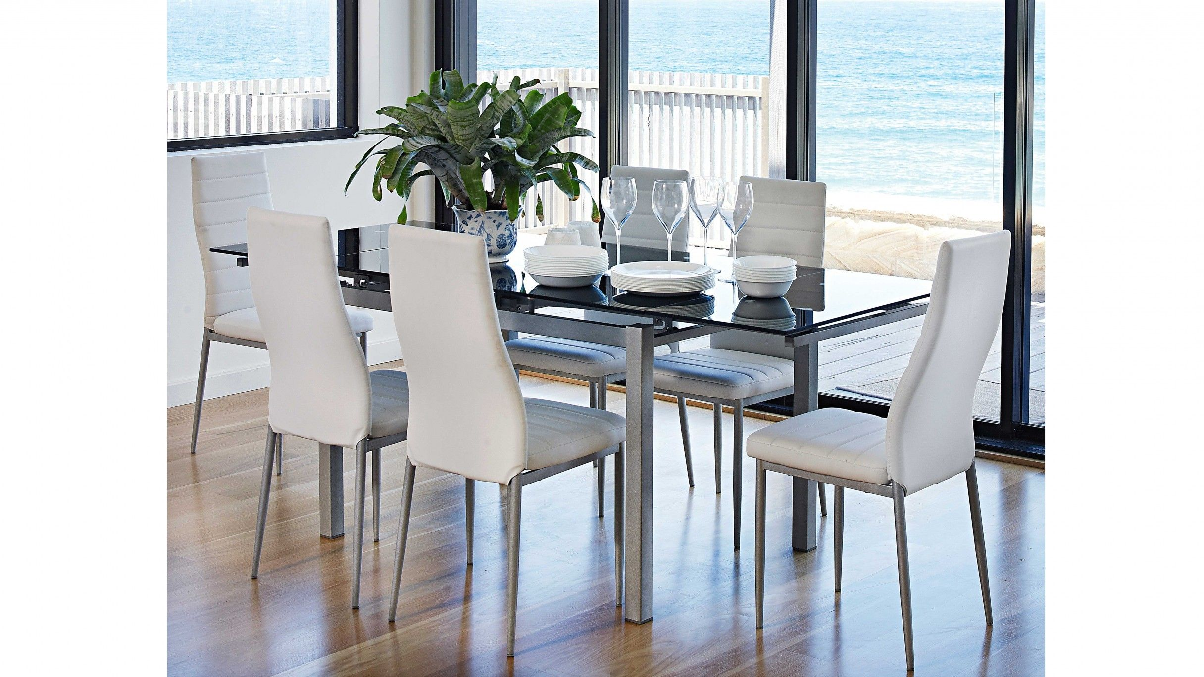 The Sleek European Styling Of Sarah 7 Piece Extension Dining Setting Is Sure To Modernise Any Home Decor Set Includes An Extendable Table And 6 Chairs
