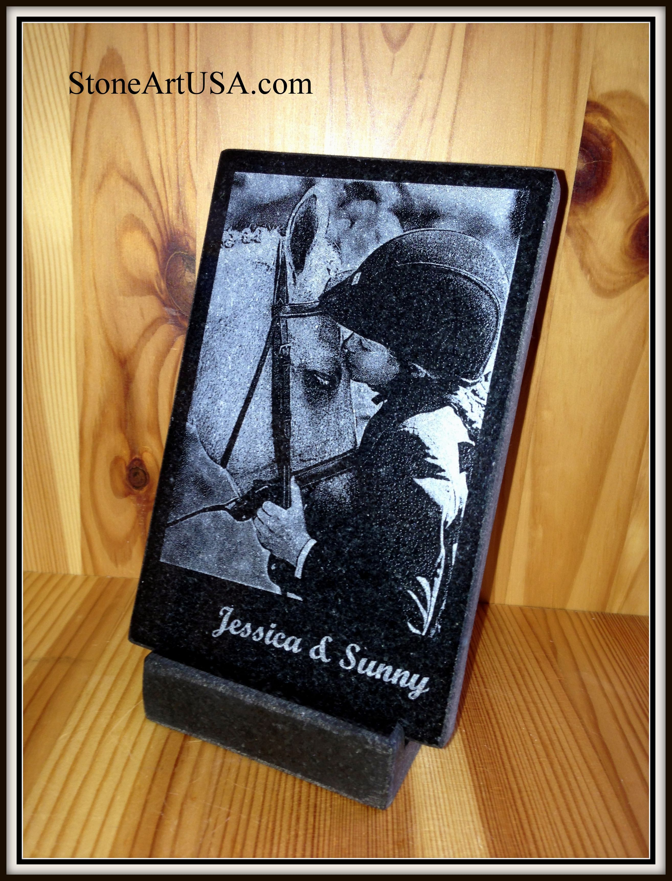 Custom Plaque Laser Etched Granite W Your Favorite Photo Stand Included Free Us Shipping With Images Custom Pet Memorials Pet Plaques Personalized Pet Memorial