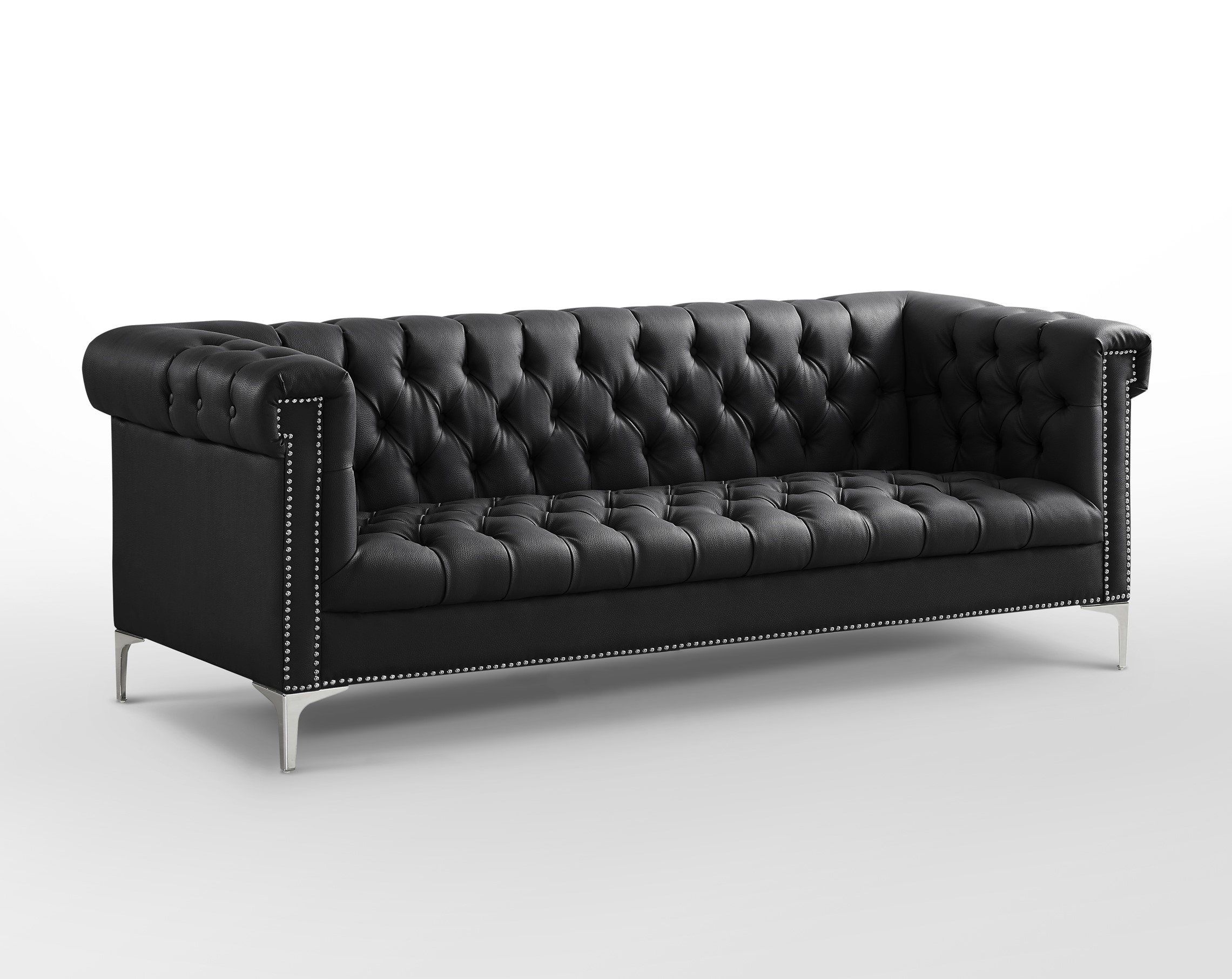 Oxford Black Leather Chesterfield Sofa Silver Metal Legs Button ...