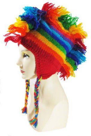 d422b76b35c Amazon.com  100% Wool Hand Crocheted Rainbow Mohawk Hat with Ear Flaps Super