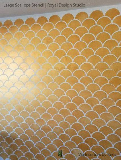 Moroccan Scallops Wall Stencil | Gold walls, Wall stenciling and ...