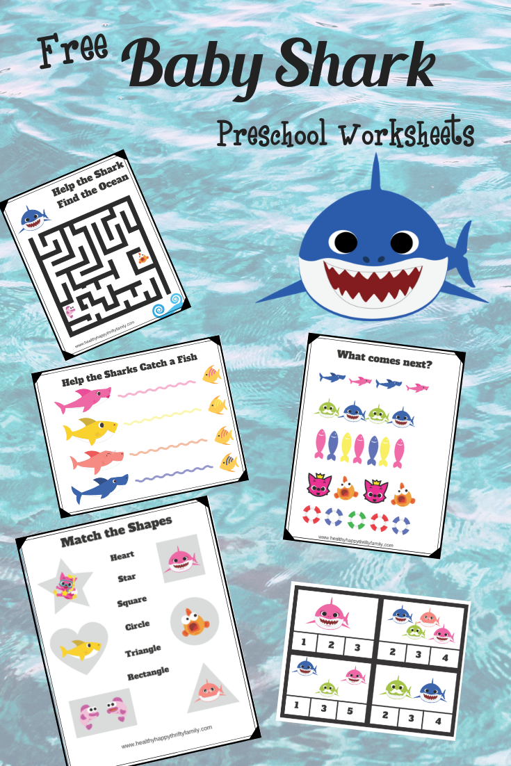 Baby Shark Free Printable Preschool Pack Healthy Happy Thrifty Family Baby Shark Family Activities Preschool Shark Crafts Preschool [ 1102 x 735 Pixel ]