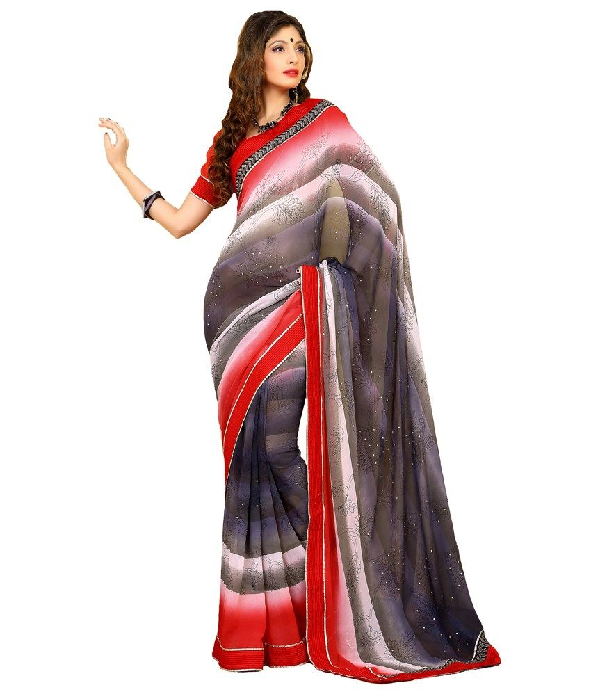 Exciting Black & White Color #Georgette #Saree