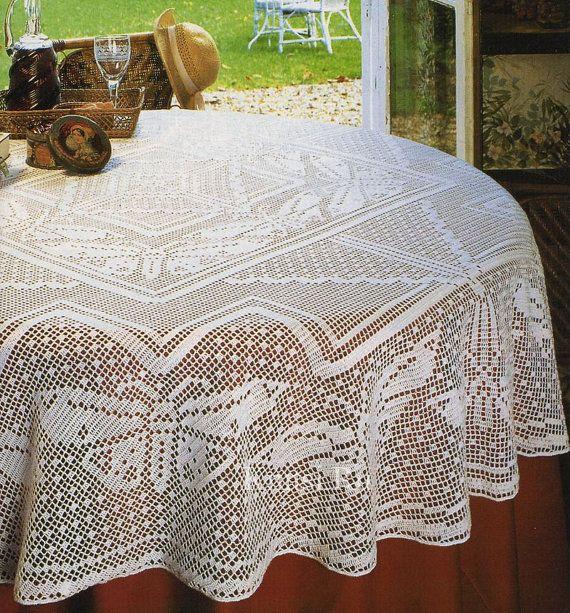 Round crochet tablecloth bridal shower gift white filet crochet table decoration romantic - Decoration au crochet ...
