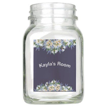 Spring Flowers Purple Blue childs Space room decor Mason Jar | Zazzle.com -   16 room decor Purple blue ideas