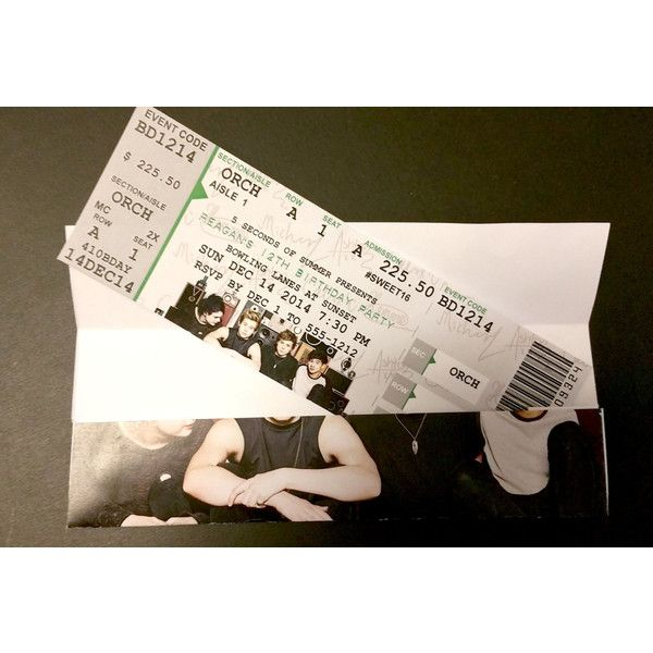 5SOS Customized Concert Ticket Birthday Invitation \ Envelope - concert ticket birthday invitations