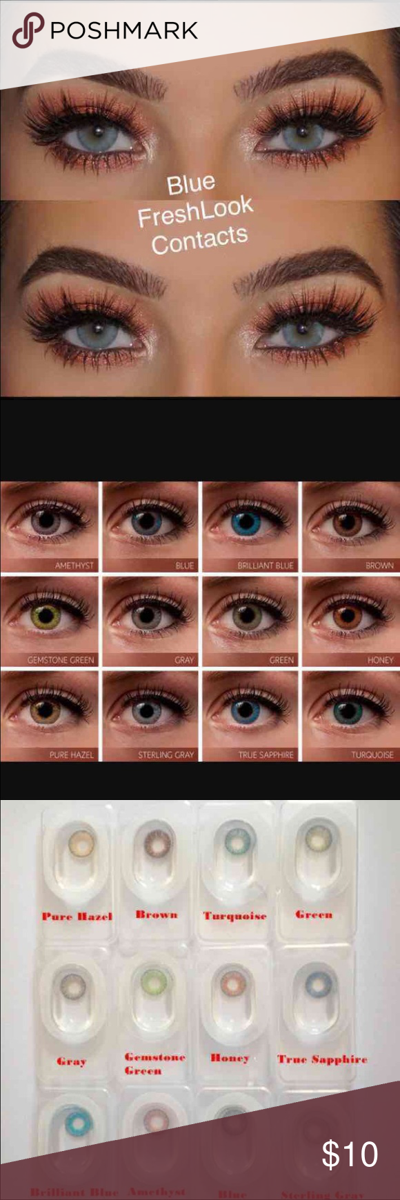 Blue Freshlook Contacts Available Colors All Colors Please Message Me What Color You Would Like One Pai Natural Contact Lenses Freshlook Contacts Gift Makeup