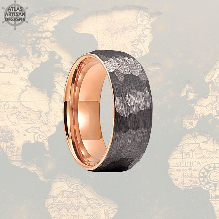 Rose Gold Wedding Bands Womens Ring Couples Ring Mocha Brown /& Rose Gold Ring Mens Wedding Band Brown Tungsten Wedding Band Mens Ring