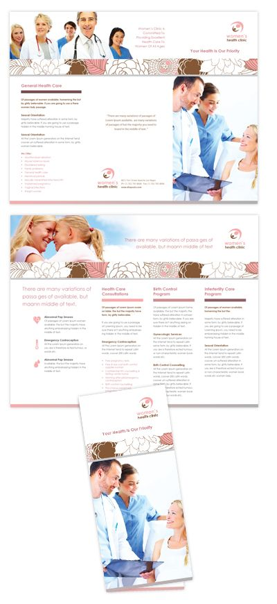 Gynecology Clinic Tri Fold Brochure Template 25 Tri Fold Brochure