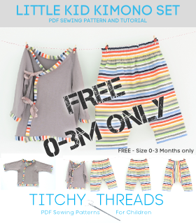 FREE - Little Kid Kimono Set - PDF Sewing Pattern 0-3 Months | Supply…