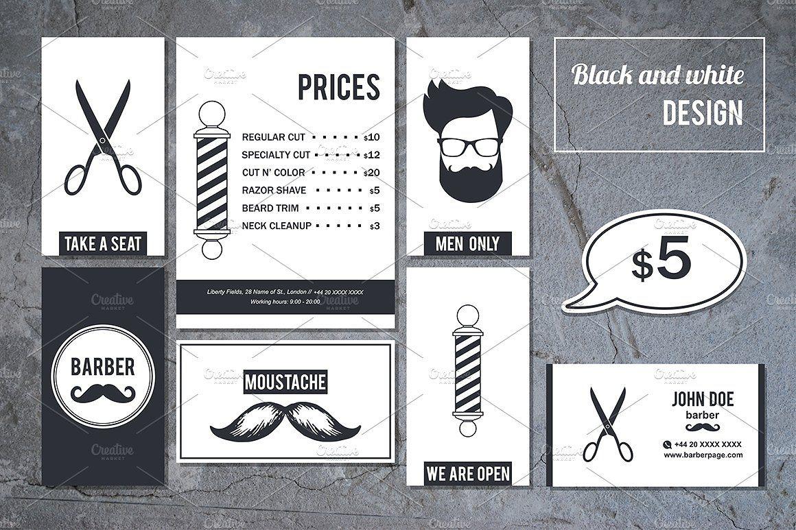 Barber Shop Business Cards. SET 2 Barber shop business