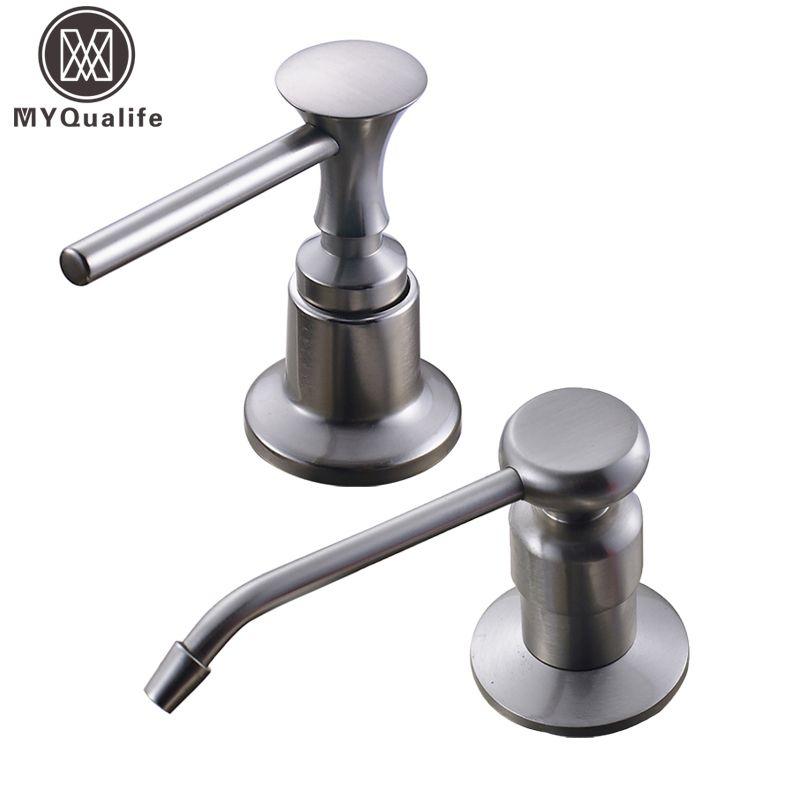 Brushed Nickel Kitchen Sink Soap Dispenser Stainless Steel Plastic Bottle  Countertop Bounce Liquid Under Sink Soap