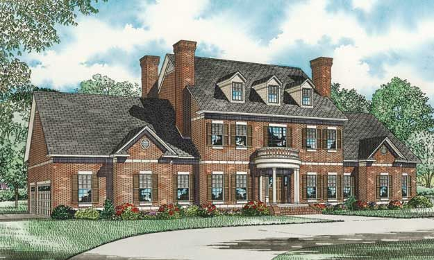 Love The Look And There Are Good Floorplan Ideas Too Colonial House Plans Brick Exterior House Modern Farmhouse Plans