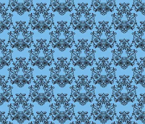 Sugar Skull Sphynx Cat Damask Blue fabric by glamourpuss on Spoonflower - custom…