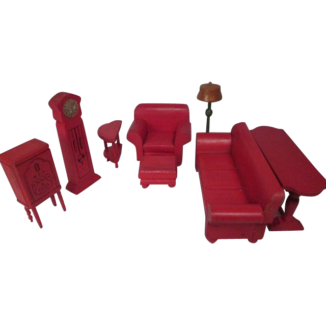 Strombecker Dollhouse Furniture - Complete 8 Piece Red Living Room
