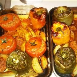 Authentic Greek Stuffed Peppers Tomatoes Gemista Recipe Recipe Greek Stuffed Peppers Gemista Recipe Stuffed Peppers