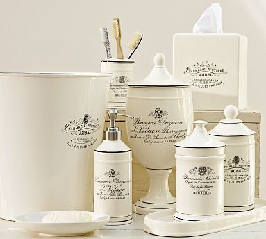 Black White Apothecary Bath Accessories Potterybarn These Will Look Great In The Room I A Apothecary Bathroom Vintage Bathroom Accessories Bath Accessories