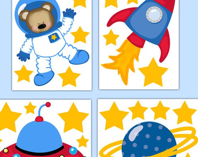 OUTER SPACE DECOR Nursery Decal Baby Boy Wall Art Stickers Teddy ...