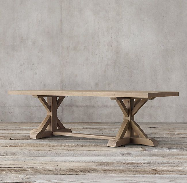 Distressed Elm Belgian Trestle Rectangular Dining Table With