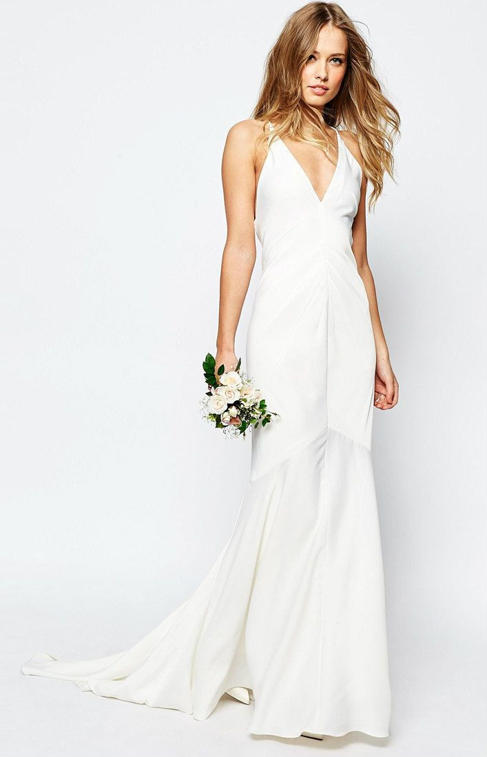 Strappy Wedding Dress With Fishtail Train