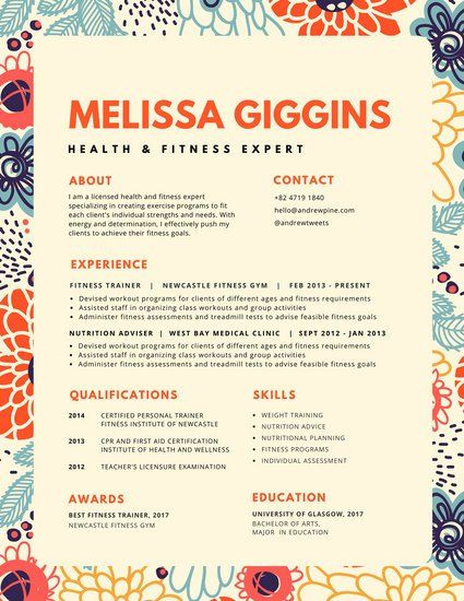 colorful floral pattern resume resume pinterest