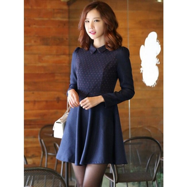 Collar Polka Dots Ruffled LongSleeve Woolen Women's Dress