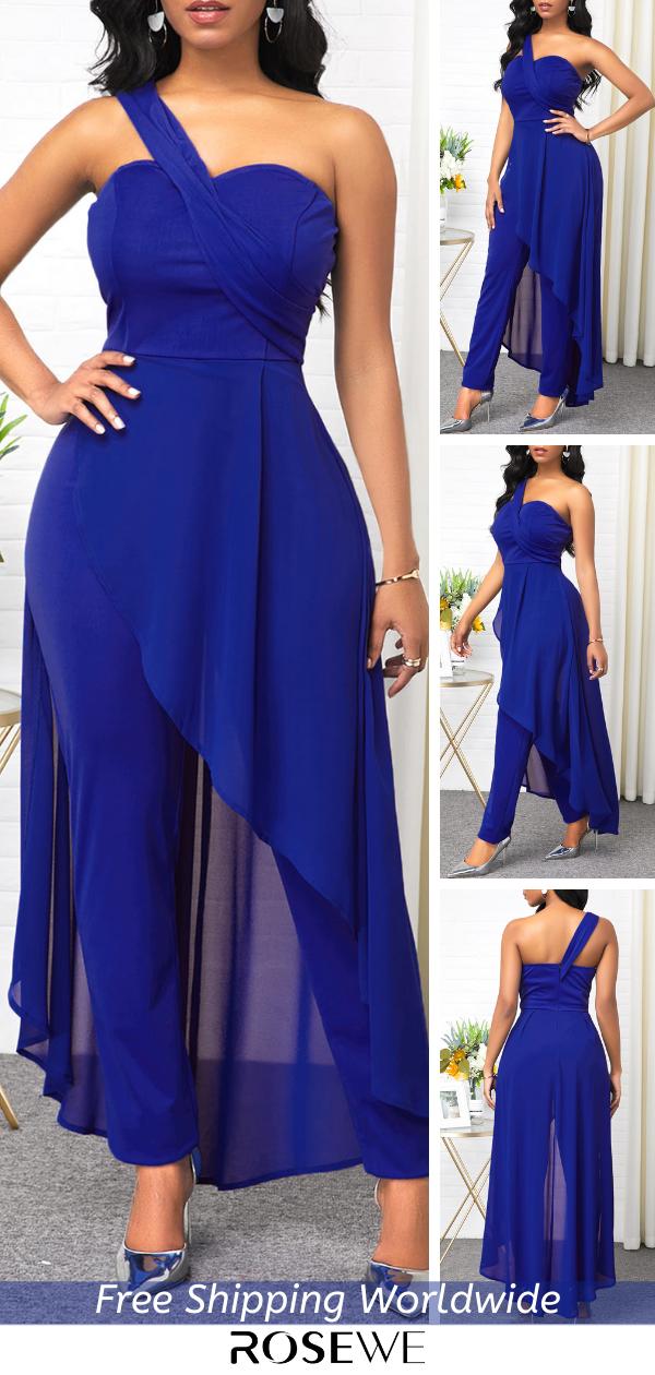 Smart Casual Blue Chiffon Blue Jumpsuit For Women 2020