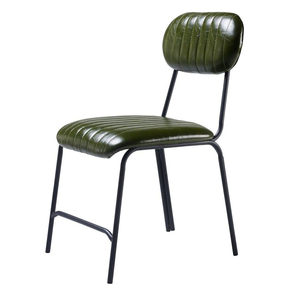 Industriale set of dining chairs olive greenblack versanora in