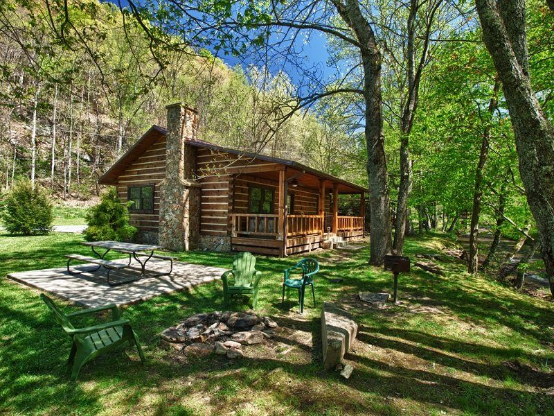 Stocked trout creek fishing cabin in the smokies near for Fishing cabins in nc