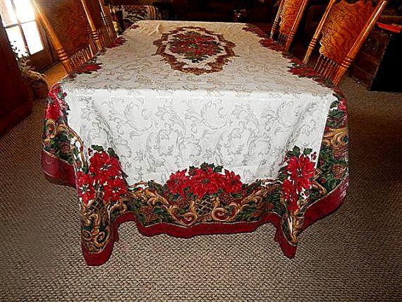 Christmas Tablecloth 120 X 60 Elegant Gold Burgundy By Holiday365