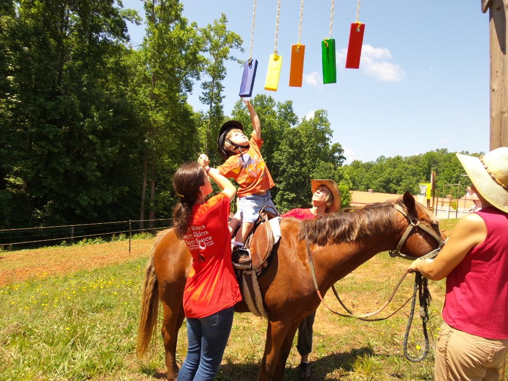 Color Blocks Child will reach up or stand on horseback