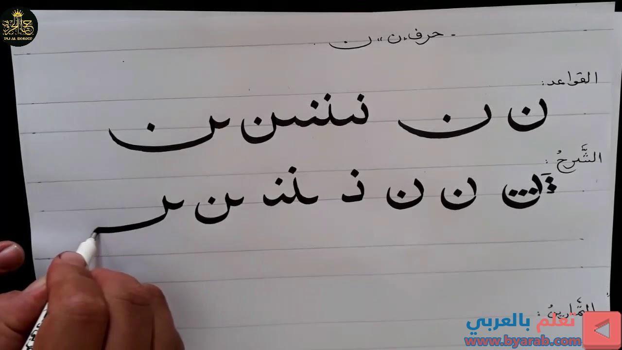 سلسلة تعلم خط النسخ الخط العربي تحسين الخط الدرس الرابع عشر حرف ن In 2020 Math Arabic Calligraphy Math Equations