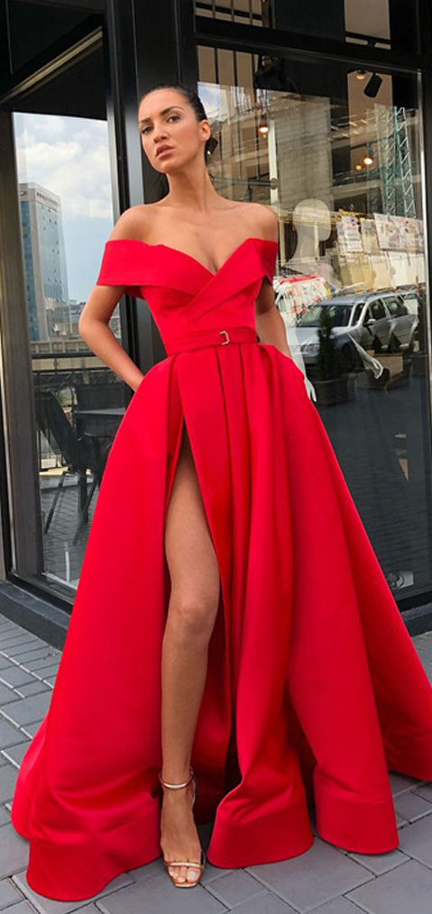 cd7b1a1231 2019 A-Line Off Shoulder Side Slit Red Long Prom Dresses,VPPD710 – VeryProm