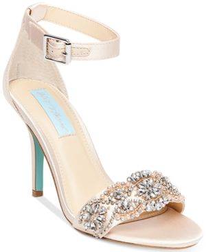 9d1dec756f2 Blue By Betsey Johnson Gina Embellished Evening Sandals - Tan Beige 6.5M