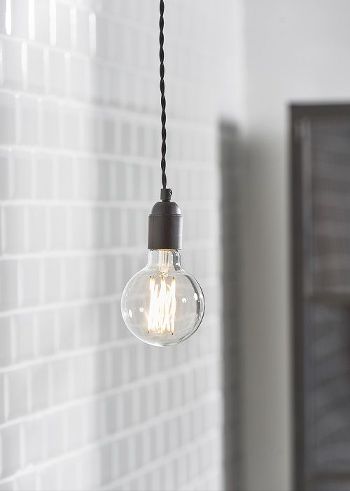 Snoerboer LED Ø 95mm globe 4W E27 dimbaar clear glass | Pinterest ...