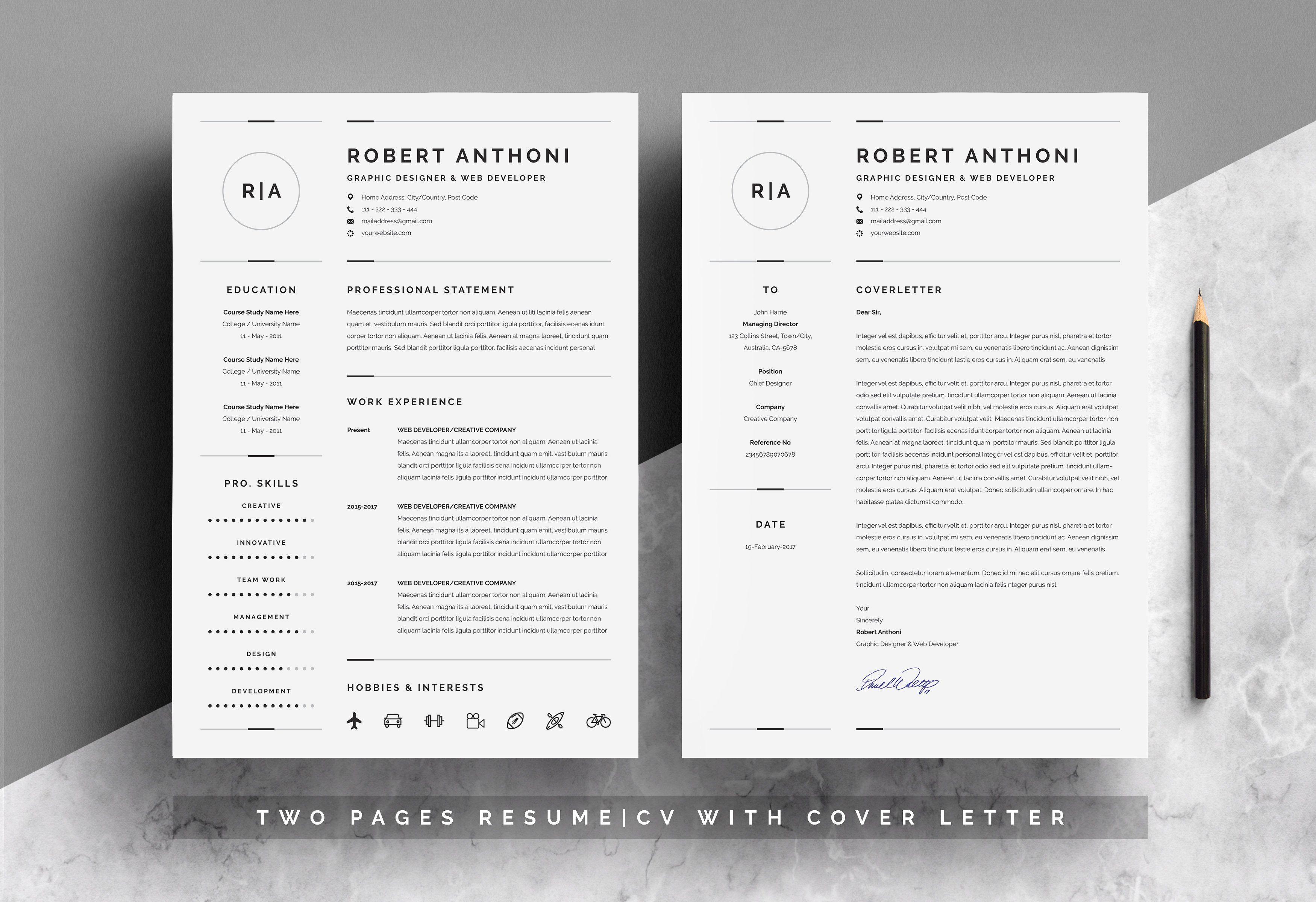 3 Pages Clean Resume Cv Template Paper Palette Original Color