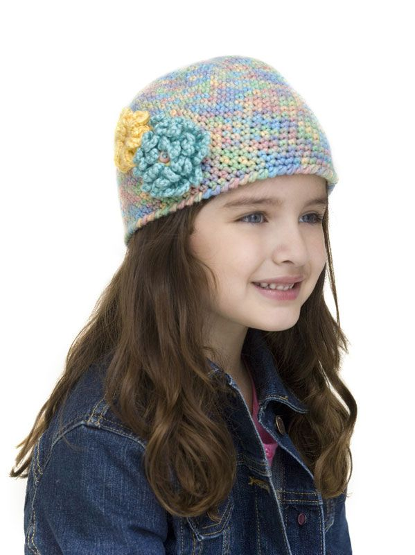 crochet hat for girls -- with flower instructions | Feeling Crafty ...