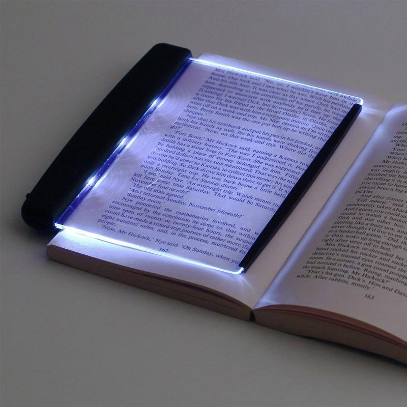 Creative Flat Plate LED Book Light Reading Night Light Portable Travel dormitory Led Desk Lamp Eye Protect for Home Bedroom - Black
