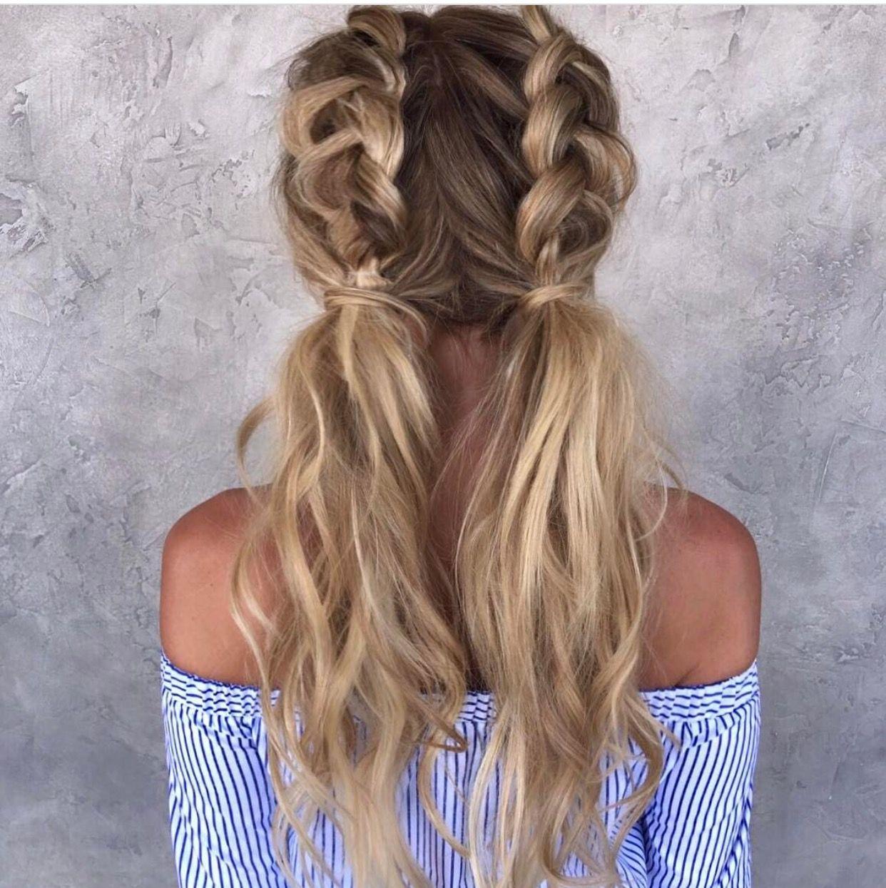 Half Dutch braided pigtails | Long hair styles, Hair styles, Blonde hair inspiration