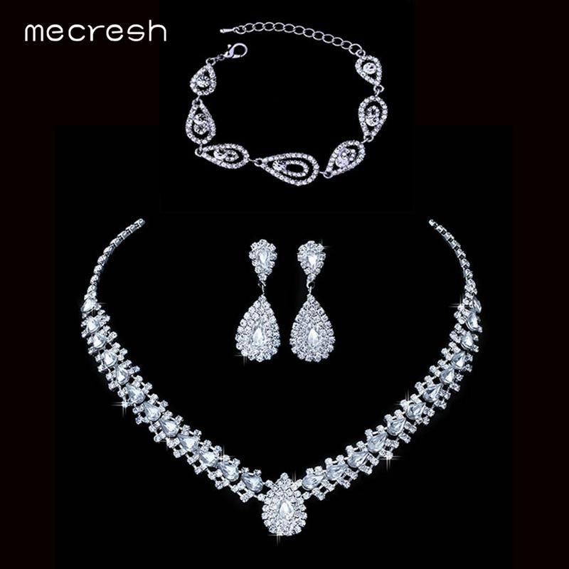Mecresh Silver Color Crystal Bridal Jewelry Sets Wedding Jewelry ...