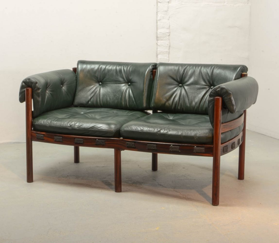 Two Seat Rosewood Green Leather Sofa By Arne Norell For Coja 1960s Green Leather Sofa Leather Sofa Sofa